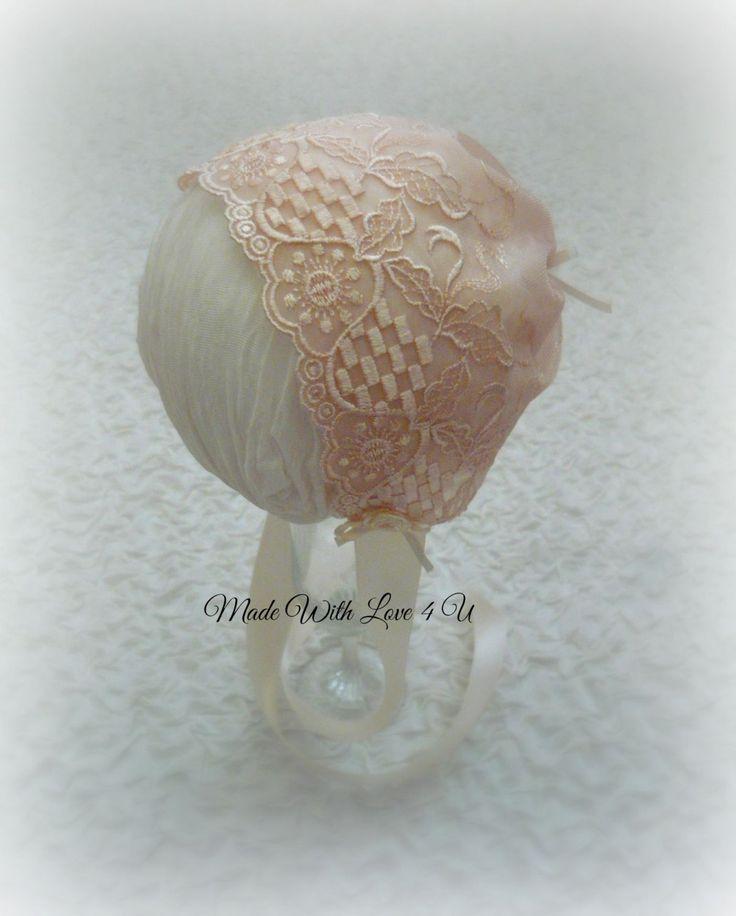Newborn bonnet . Dark Ivory by MadeWithLove4U01 on Etsy