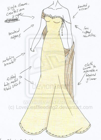 This is something Ryn might wear to a formal event. Just hem dress in black, and turn cape black too.