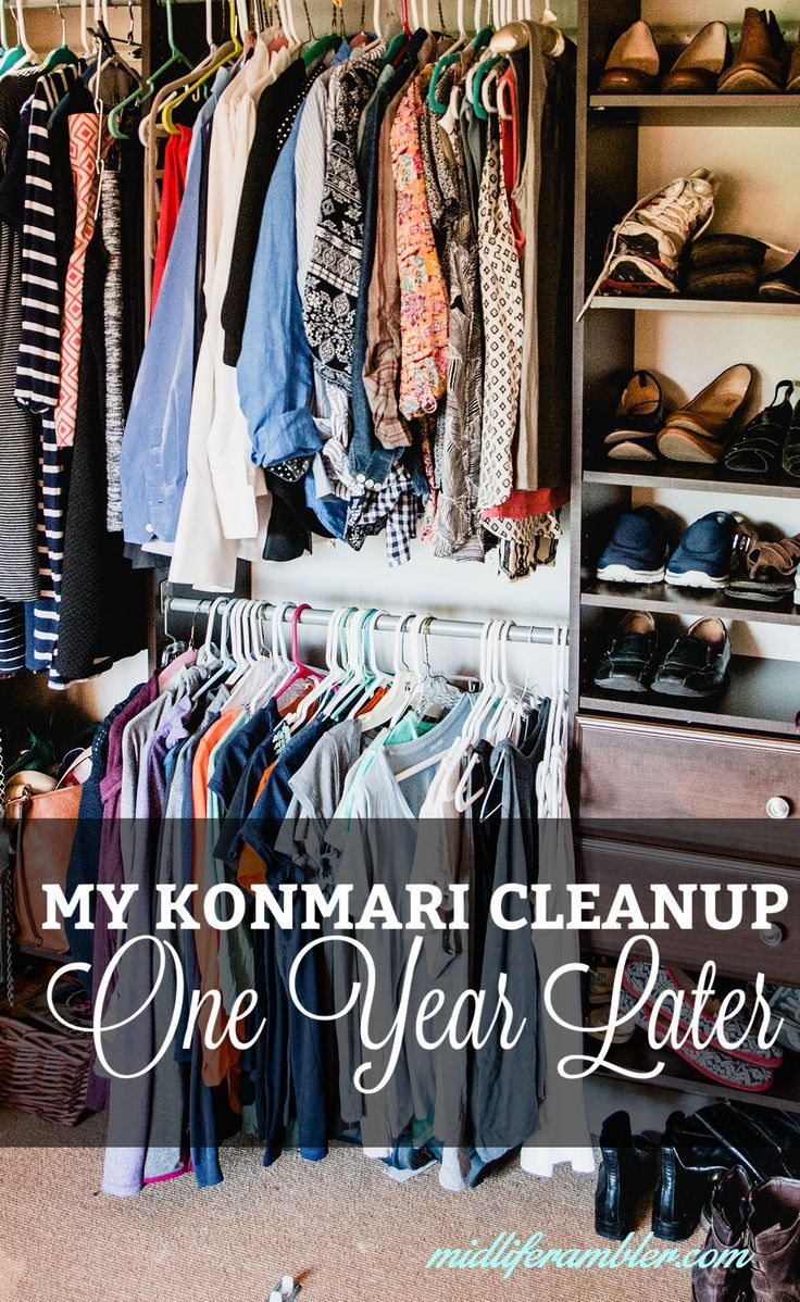 A year ago, I did a big KonMari Tidy Up from The Life-Changing Magic of Tidying Up: The Japanese Art of Decluttering and Organizing. Here's what worked for me and what didn't and how it's going now.