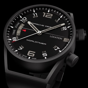 Here is the Black PVD Coated Titanium Worldtimer made by Eterna for Porsche Design. The latest timepiece from Porsche Design displays the time in two different time zones simultaneously. An additional crown with an integrated button makes the world time settings easy to change. This Porsche beauty is 45mm in diameter and a whopping 16.8mm thick.