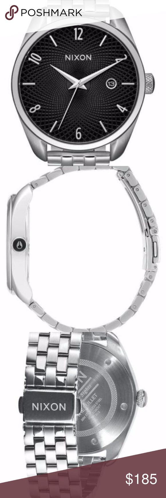 Nixon Women's Watch Bullet Bracelet Nixon Bullet Bracelet Women's Quartz Watch A418000 Black Silver Brand New In Box  WATCH MOVEMENT: Miyota Japanese quartz 3 hand movement with date function.   WATCH DIAL: The dial features applied stainless steel hour and number indices custom guilloche pattern and date window at 3 o'clock.   WATCH CASE: 38mm, 5 ATM custom stainless steel case with hardened mineral crystal custom crown with enamel fill, stainless steel screw down caseback, and spring pin…