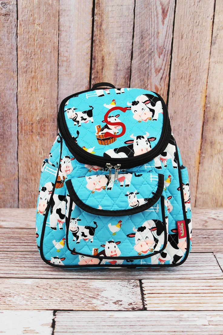 Udderly Cute Cows Quilted Petite Backpack