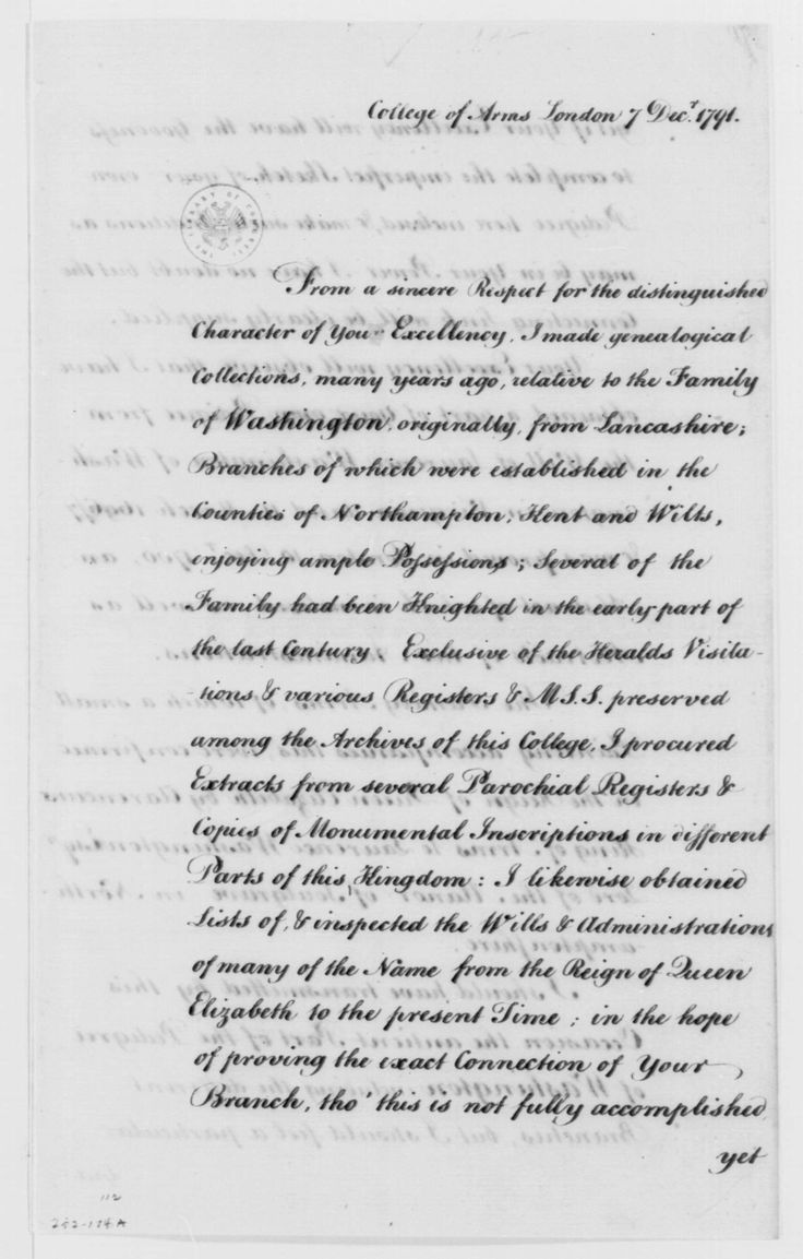 George Washington Papers at the Library of Congress, 1741-1799: Series 4. General Correspondence. 1697-1799 Isaac Heard to George Washington, December 7, 1791, with Genealogical Information on, and Trees of Washington's Family