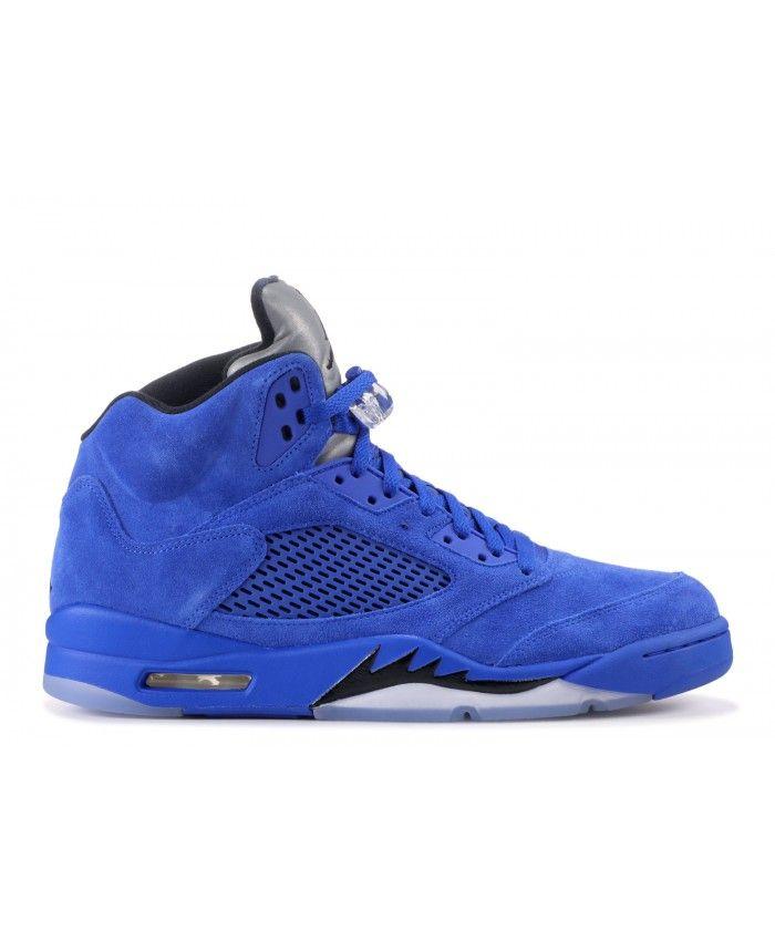 ... recognized brands 8845d e242e Nike Air Jordan 5 Retro Blue Suede Game  Royal Black Outlet air ... 6c0c41b40