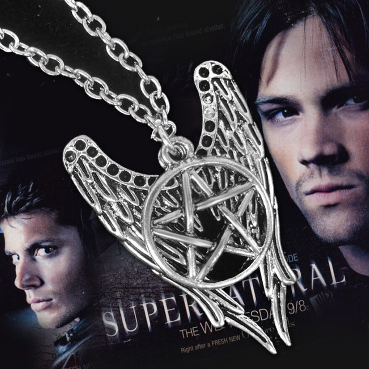 Supernatural Necklace Bijouterie Suspension Pentagram Pendant For Lover Castiel Wings Angel Wicca Jewelry Navidad