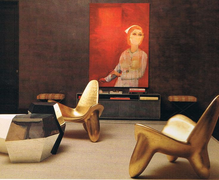 Dramatic Interiors By Peter Marino With A Richard Prince Painting And The Gold Sculptural Chairs