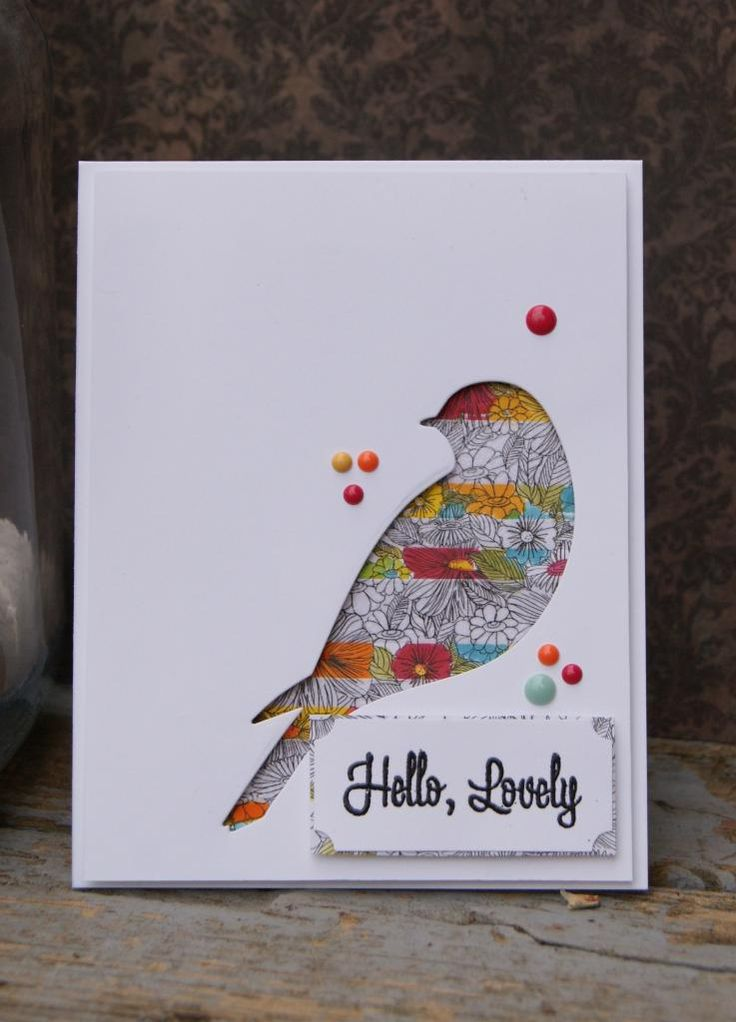 Reverse die-cut of a bird, backed with patterned paper. Dots with Liquid Pearls. CASE Study