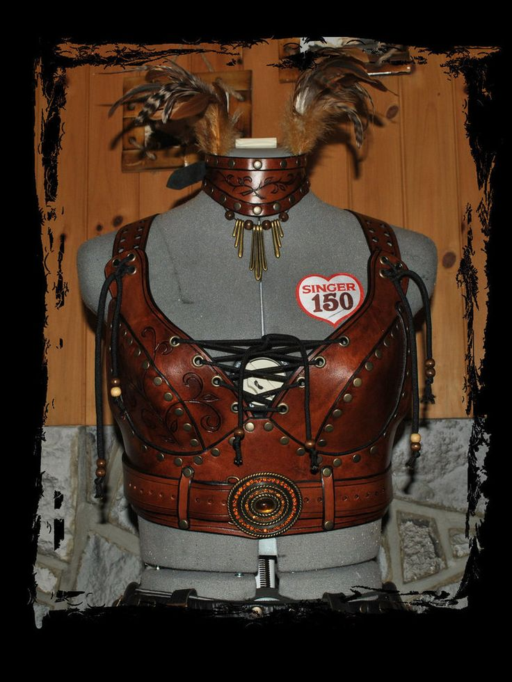leather armor bra front view by ~Lagueuse on deviantART
