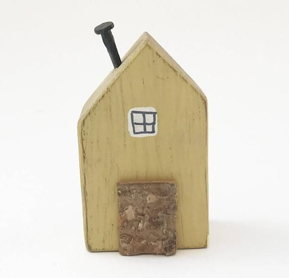 Wooden Tiny House With Butterfly Pattern On Reverse Shelf Etsy Tiny House Ornament House Ornaments Warm Home Decor