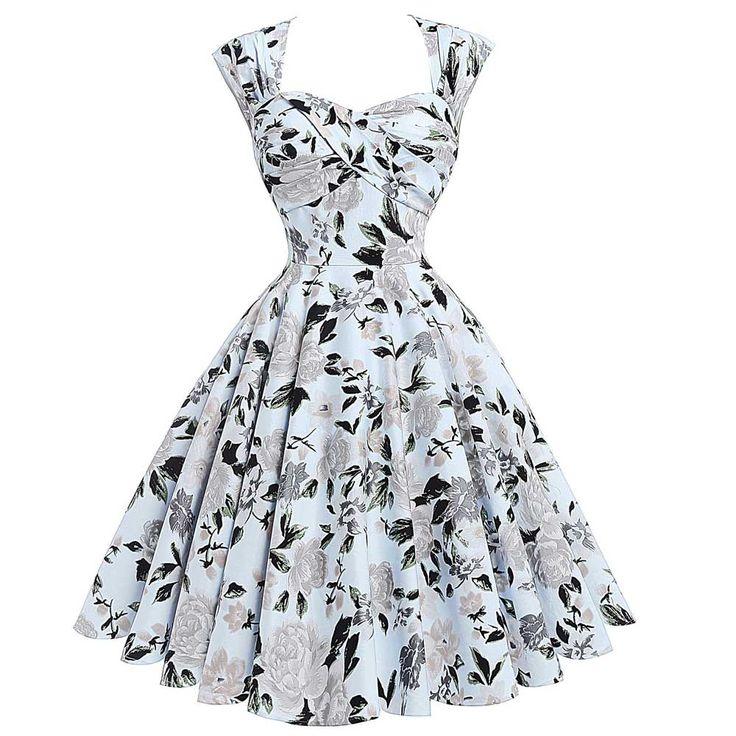 Summer Robe Rockabilly 50s Vintage Dresses Plus Size Retro Casual Party Dress Women Vestidos Floral Print Sexy Hollow Back