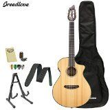 "Breedlove PURSUIT-NY Pursuit Nylon Acoustic-Electric Guitar with Strap, Stand, Picks, Tuner, Cloth and Gig Bag. Top: Solid Cedar, Back/Sides: Saelee Laminate. Fretboard: Rosewood, Tuners: ""3-in-line nylon"", Nut Width: 1-7/8"". Pickup: Fishman ISYS+ USB, Bridge: Pin less original. Binding: Tortoise, Inlay: Centered Dots. Includes: Strap, Polish Cloth, Chroma Cast Stand, Picks, Tuner, and Breedlove Gig Bag."