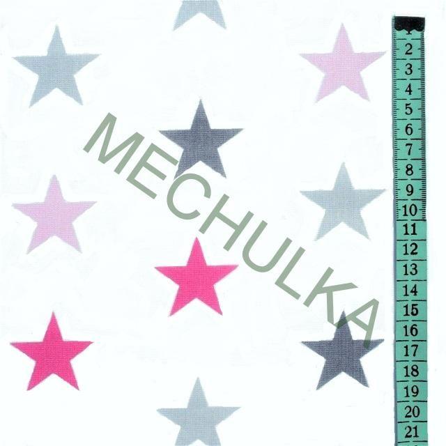 Hvězdičky / hvězdy růžové barevné - bílá látka - hvězdičková metráž - bavlna