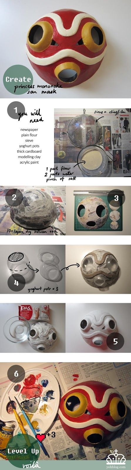 Check out our tutorial!  yeh!blog: DIY How to make Princess Mononoke Mask