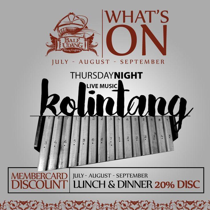 Thursday nights at Bale Udang Kuta, Enjoy our Kolintang live music!
