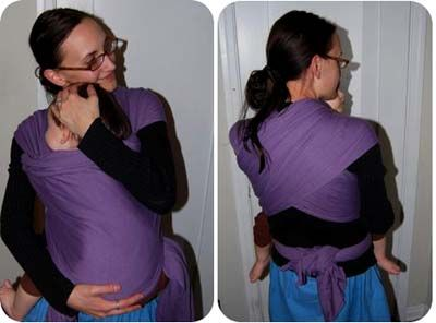 How to make a no-sew wrap carrier for your baby.  Super easy, and there's a link at the bottom to a chart that shows many ways to carry your baby in it.
