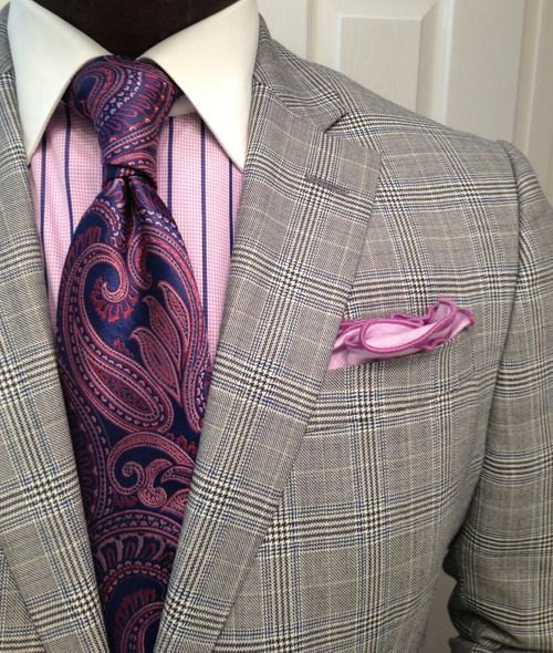 Purple blue Paisley Tie, with plum pinstripes over soft purple with white collar shirt. Very continental.