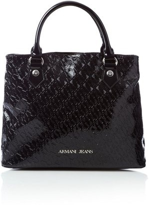ShopStyle: Armani Jeans Patent embossed crossbody