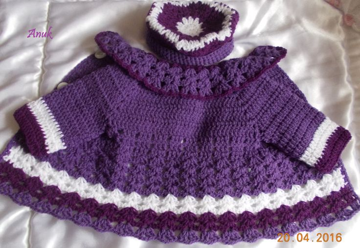 Crochet baby jacket and hat.