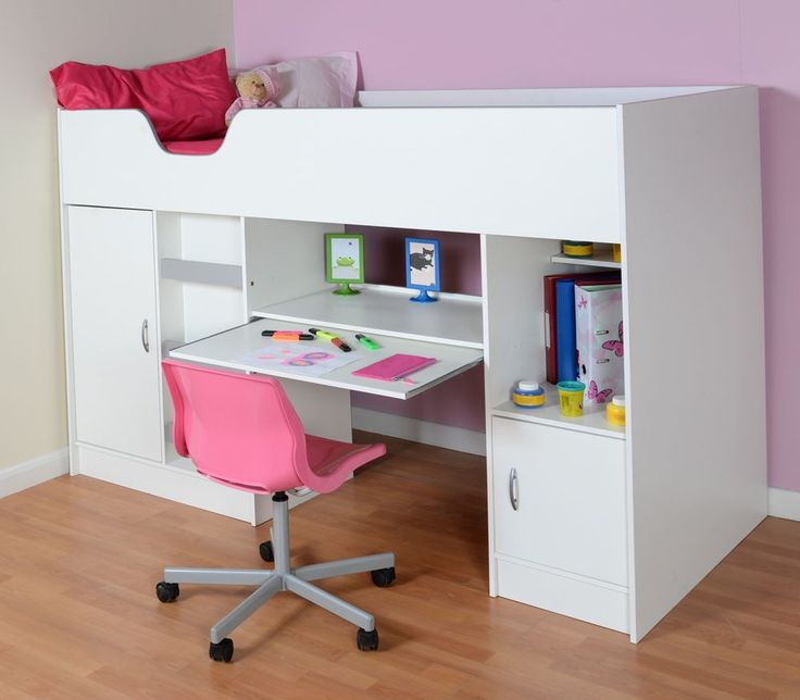 Childrens high sleeper cabin bed with wardrobe and desk, ideal for children from 6 -15 years of age.