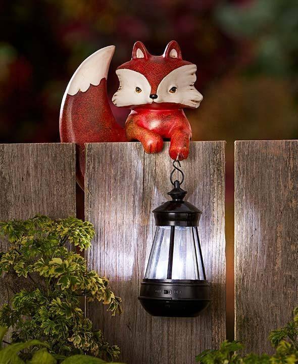 Outdoor Garden Yard Fence Animal Solar Lantern Statue Lawn