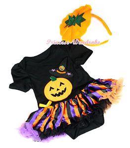 Fiesta-De-Halloween-Sombrero-De-Bruja-Calabaza-Body-Raya-Bebe-Nina-Ropa-Vestido-nb-12m USD16,99 Aproximadamente 14,96 EUR