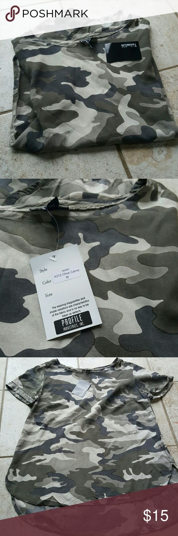 Fashion Webb camouflage top New with tags. Size Medium. Camo printed short sleeve top.100%% rayon. Fashion Webb  Tops