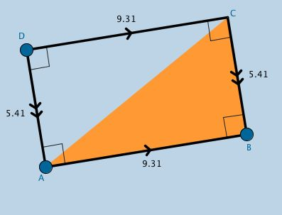 Applet contains a rectangle.  It's purpose is to serve as a resource for struggling students to either (a) informally discover properties of a rectangle and/or (b) recall their knowledge of properties they've previously learned about a rectangle.