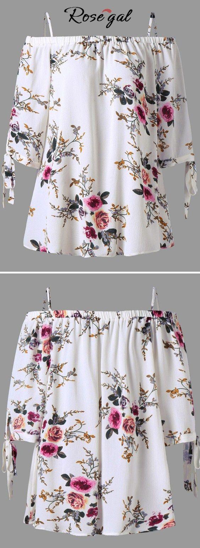 Free shipping worldwide.Plus Size Cold Shoulder Bohemian Blouse.#blouses #plussize #coldshoulder