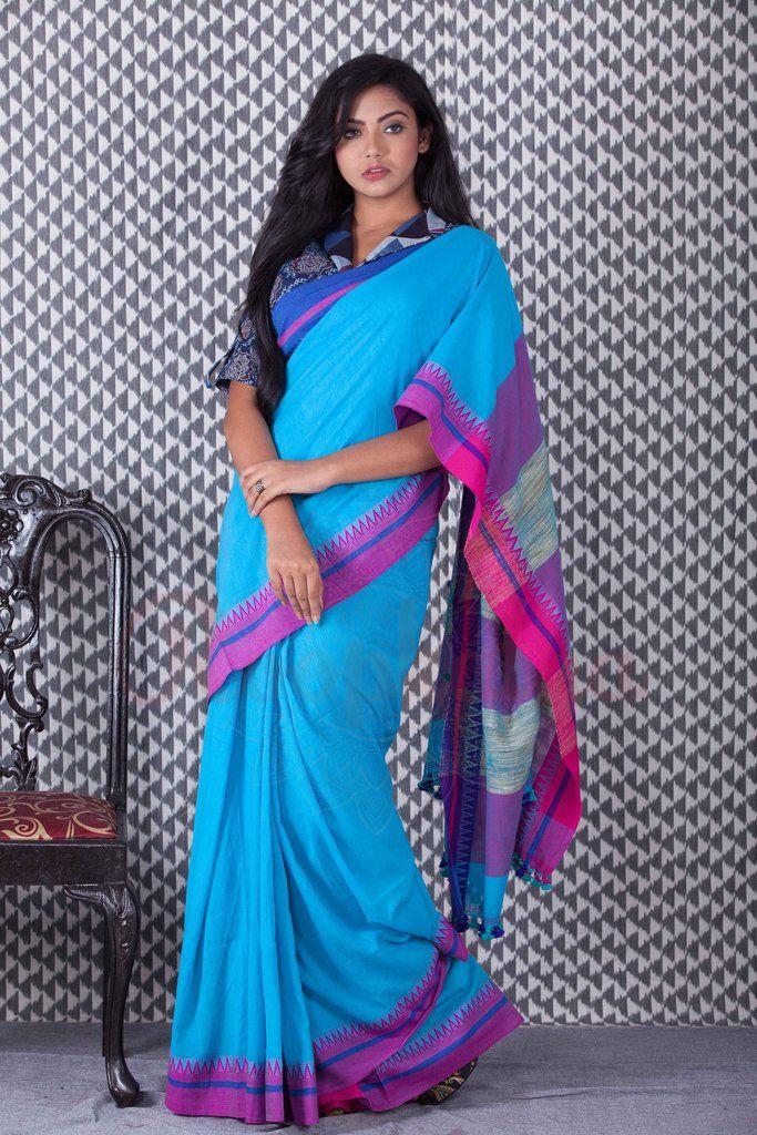 Light Blue Khadi Handloom Cotton Saree With Dual Border-KCH06950710