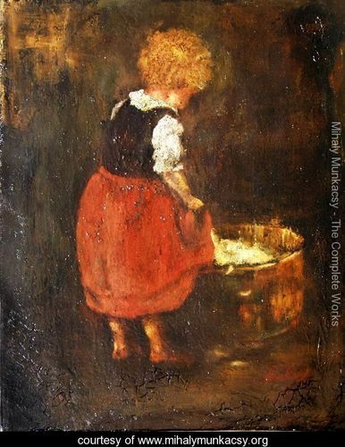Shredding linen - Sketch of the little girl - Mihaly Munkacsy - www.mihalymunkacsy.org