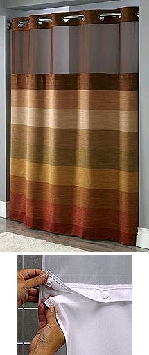 Stratus Window Hookless® Shower Curtain with Snap-In Liner