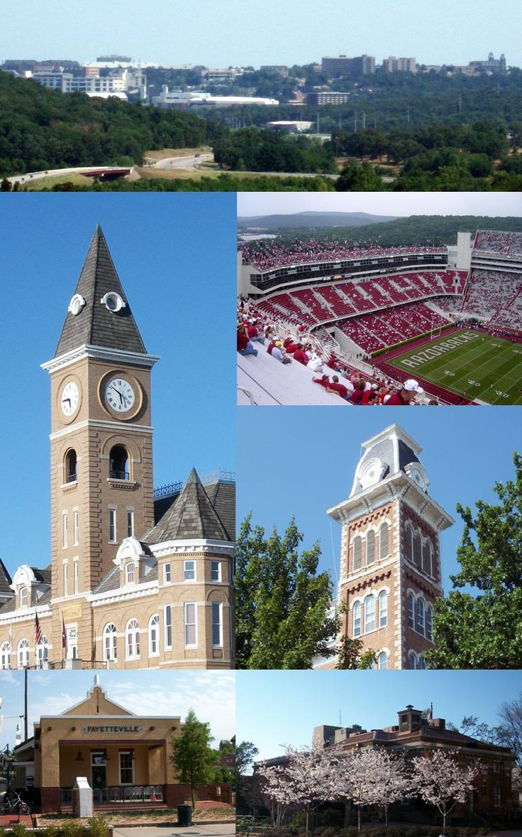 University of Arkansas Razorbacks - City of Fayetteville and university campus. My husband attended this university.