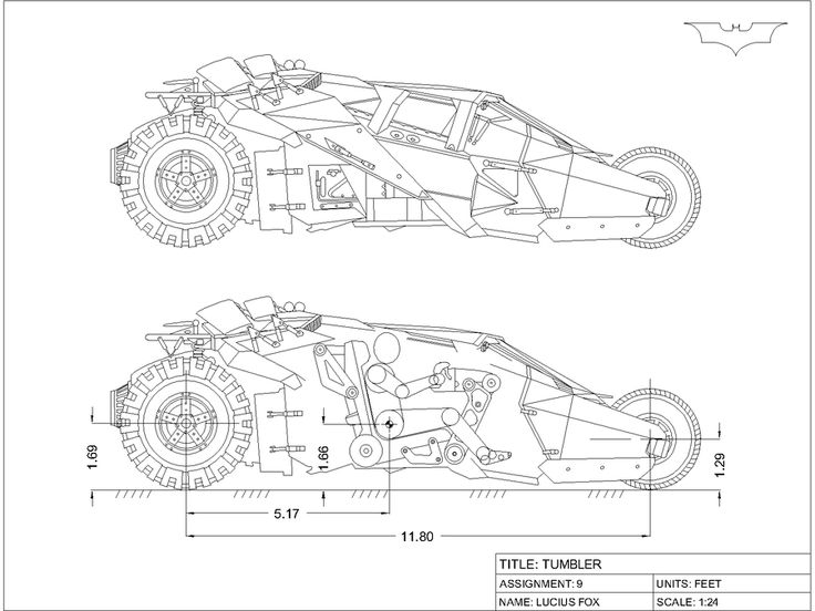 Batman Tumbler Orthographic Drawing by Solarisphere (900×675)