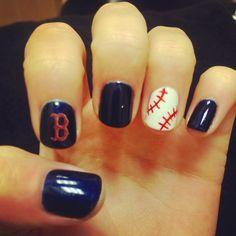 My boyfriend loves baseball, so I'm gonna do my nails like this for a baseball game tomorrow.