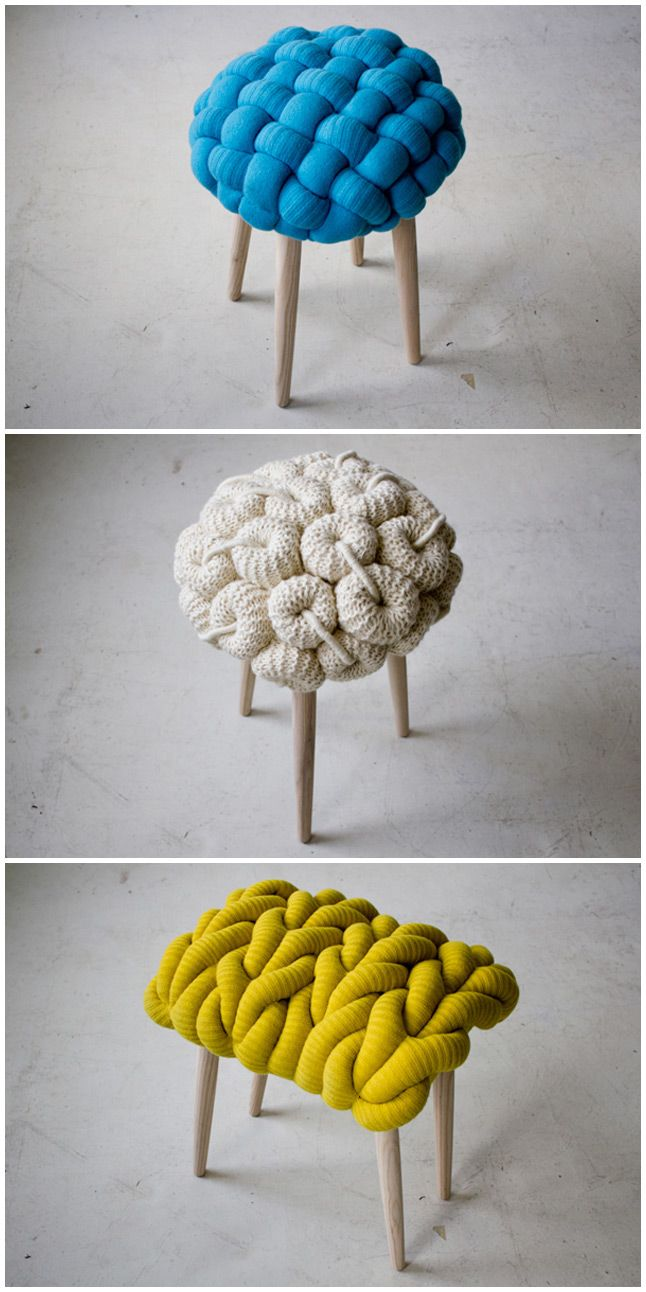 I chose this image because I really like the texture of these stools. I love the idea of putting knit on a chair, making it feel warm and plush. Great for a cold day!
