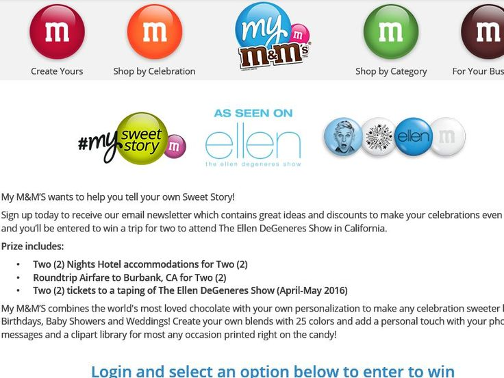 Enter The My M&Ms Ellen Tickets Sweepstakes for a chance to win a 3-day/2-night trip for two to Burbank, CA!