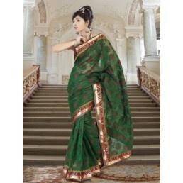 Brick Red And Emerald Green Super Net Saree