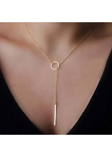 Bar and Circle Pendant Metal Golden Necklace on sale only US$5.04 now, buy cheap Bar and Circle Pendant Metal Golden Necklace at liligal.com