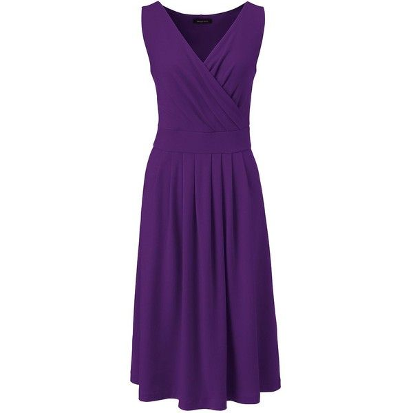 Lands' End Women's Petite Fit and Flare Dress (375 DKK) ❤ liked on Polyvore featuring dresses, purple, petite dresses, purple fit and flare dress, lands end dresses, purple dress and summer dresses