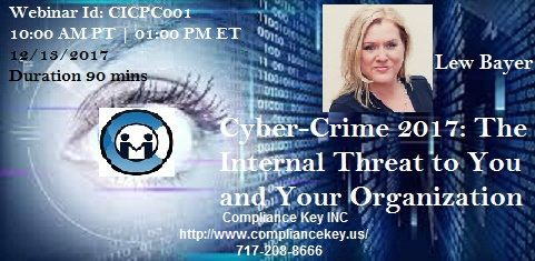 Cyber-Crime 2017: The Internal Threat to You and Your Organization #enterpriseriskmanagementtraining  https://flic.kr/p/21fyxgg | Cyber-Crime 2017 The Internal Threat to You and Your Organization | This timely webinar discusses the most current and dangerous insider cybersecurity threats and outlines measures for preventing and investigating incidents of data theft, industrial espionage, cyber-sabotage, identity theft and more.  Visit: www.compliancekey.us/webinarDetails?industryId=7&webi...