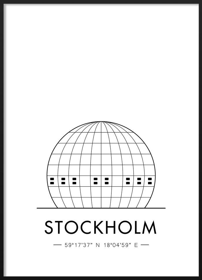 Black and white Stockholm Globe poster  #blackandwhite #modern #scandinavian #interior #stockholm #globe #illustration #poster