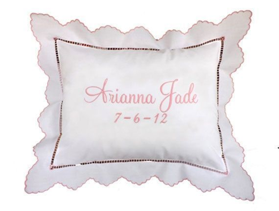 Embroidered Baby Pillow Personalized Pillow By The Baby Pillow Store 49 99 Emb Embroidered Bab In 2020 Personalized Baby Pillow Personalized Pillows Pillow Store