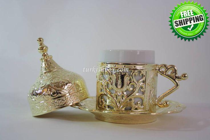 Turkish Coffee Cup   Tulip - Gold - http://turkishbox.com/product/turkish-coffee-cup-tulip-gold/  #turkishtowels #peshtemals #turkishproducts