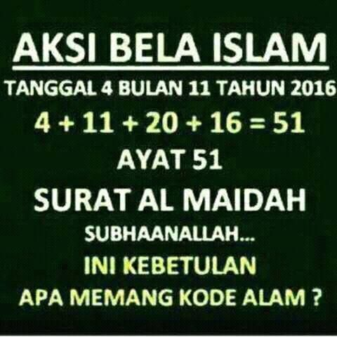 Fakta Terkait Aksi Bela Islam Dengan Surah Al Maidah ayat 51 http://obbzs-web.blogspot.co.id/2016/11/fakta-terkait-aksi-bela-islam-dengan-Surah-Al-Maidah-ayat-51.html