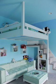 Blue Hanging Loft Bed For Kids