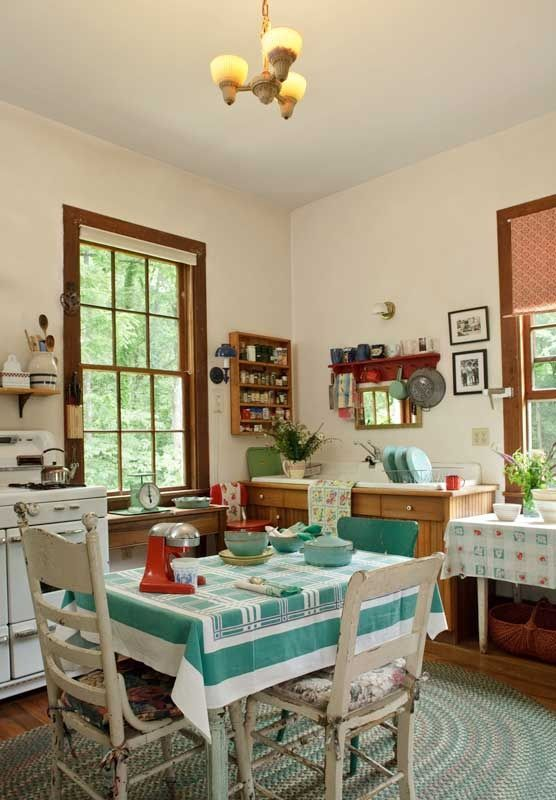 Lovely vintage kitchen update. Love it, b/c it's true to the style of the house.
