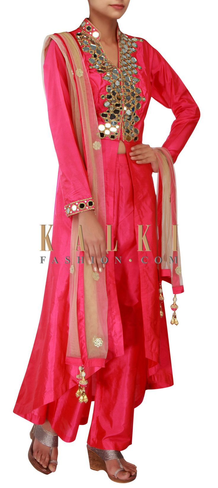 Buy Online from the link below. We ship worldwide (Free Shipping over US$100) http://www.kalkifashion.com/pink-a-line-suit-featuring-in-mirror-and-zari-embroidery-only-on-kalki.html