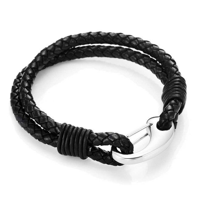 Braided Black Genuine Leather Bracelet with Locking Stainless Steel Clasp