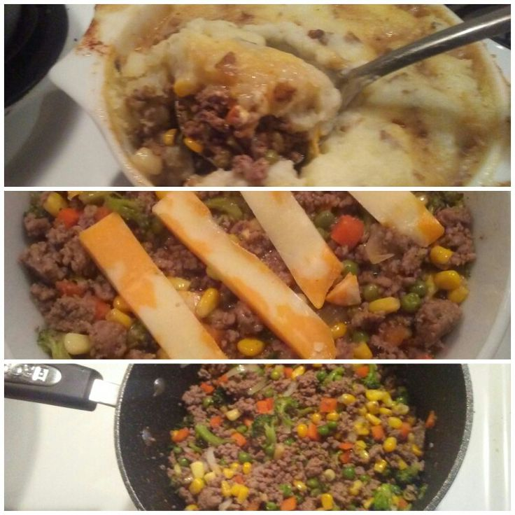Cheap Beef and Veggie Pie.    Cook ground beef and drain. Add veggies. I choice a mix of fresh and frozen. I added broccoli, corn, onion, peas and carrots. Steam for 15min on medium temp. Add beef gravy. Put in oven safe dish, topped with cheese and mashef potatoes. Bake for 35 min at 350F