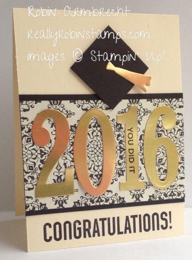 Stampin' Up! Bravo stamp set, Large Numbers Framelits, Ballon Framelits, graduation card